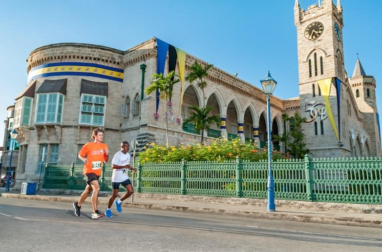 Runners Outside Barbados Prime Minister's Office